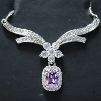 Sparkling Cushion Purple Amethyst Necklace Women Wedding Jewelry 14K White Gold