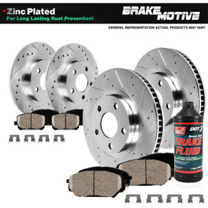 Front+Rear Drill Slot Brake Rotors & Ceramic Pads For Town & Country Caravan