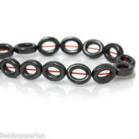 1Strang Gunmetal Hämatit Perlen Hohl Oval Beads zum Basteln 10x8mm LP