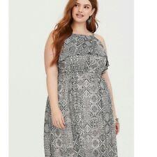 Torrid 00 M L 10 Maxi Dress Ikat Hi-neck Ruffled Chiffon Womens Black/White NWT