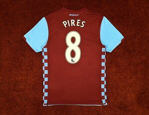 ASTON VILLA HOME FOOTBALL SHIRT SOCCER JERSEY 2010/11 FRANCE PIRES NIKE CLARET M
