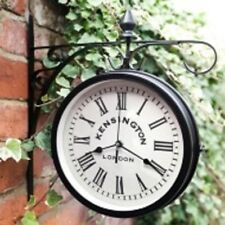 Outdoor Hanging Station Clock - Black- Add a value of time in your life.