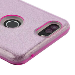 For ZTE SEQUOIA /BLADE Z MAX - TPU Rubber Shiny Glitter Bling Phone Case Pink