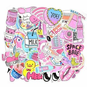 50 Pink Girl Cute vsco Stickers Waterproof Stickers for Hydro Flask Laptop