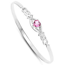 Rennie Mackintosh Style Sterling Silver Pink Topaz Heart & Diamond Clip Bangle