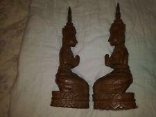 Vintage Hand Carved Wood Thai Angel Temple Protector Kneeling Praying Buddha