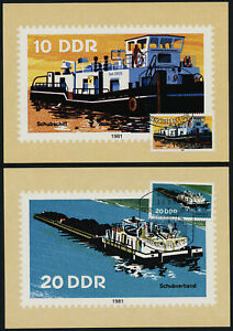 Germany GDR 2221-6 on Maxi Cards - River Boats