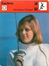 FICHE CARD: Véronique Trinquet France Fleuret Escrimeuse  FENCING ESCRIME 1970s