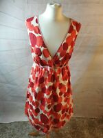 Boden Ivory Polka Dot Cotton Sleeveless V Neck Fit & Flare Dress Size 12 R