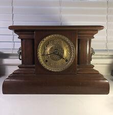 Antique Seth Thomas Adamantine Mantel Clock Wood Lions Brass Front No Key