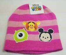 Girls Pink Striped Tsum Tsum Knit Cap Winter Beanie Hat Mickey Mouse/Tigger/Mike