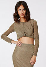 Missguided Co-Ord Metallic Gold Crop Top Long Sleeve Mini Skirt Size 4 6 @ Asos