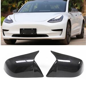 LUXURY Real Carbon Fiber For Tesla Model 3 Mirror Covers 2017 2018 2019 20-2021
