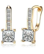 YELLOW GOLD FINISH PRINCESS CUT CREATED DIAMOND EARRINGS  GIFTBOX FREE POSTAGE