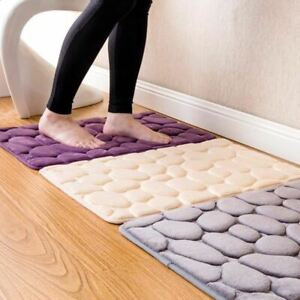 1 Pc Bathroom carpet Memory Foam Rug Coral Fleece Mats Set Non-Slip Pebble Flann