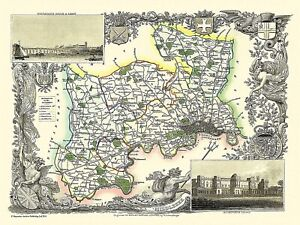 Map of Middlesex 1836 by Thomas Moule 1000 Piece Jigsaw Puzzle (jg)