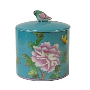 Contemporary Teal Blue Green Flower Painting Round Porcelain Box ws1253