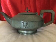 Stylish Art Deco Pewter Teapot With Steeped Fan Shaped Decoration Woden Handle