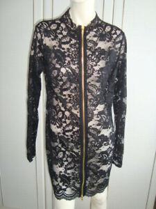 ANN SUMMERS BLACK LACE ZIP UP DRESS UK 16