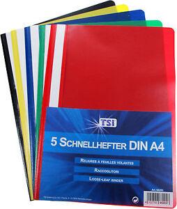 5 Stück Schnellhefter Plastik Kunststoff DIN A4 PP im 5 Farben-MIX