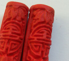 4 Red Carved Cylinder Cinnabar Lacquerware Beads, 30 x 10 mm. Jewellery/Crafts