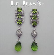 Fancy Peridot Dangle Earrings with Diamonds and 18 Karat White Gold
