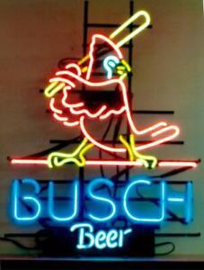 New St. Louis Cardinals Busch Beer Real Glass Neon Sign Bar Light Home Decor