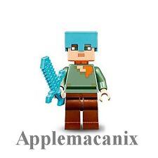 NEW LEGO 21122 Minecraft The Nether Fortress DIAMOND ALEX Minifigure w/Sword