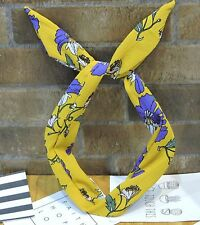 NEW Women Girl Retro flower Wire Bunny Ear bow scarf Hair head band headband Tie
