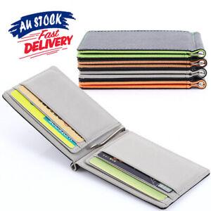 Clip Money Leather Wallet Grey Credit Card Holder Mens Womens Ultra Slim