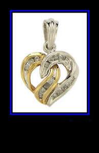 SOLID 10K YELLOW & WHITE GOLD DIAMOND HEART PENDANT