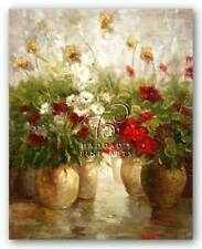 FLORAL ART PRINT Red White and Gold Ian Cook