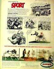 1965 Ruth~Unitas~Dempsey~Brown Sports Memorabilia Aurora Model Toy Kits Promo AD