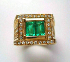 Tension Set Engagement & Wedding Men's Ring 14K Yellow Gold Over 2.5 Ct Emerald
