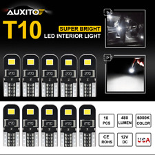 10X Error Free T10 194 168 LED Interior Map Dome Side Marker License Light WHITE