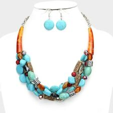Four Strand Turquoise Stone And Mix Bead Amber Color Horn Necklace Earring Set