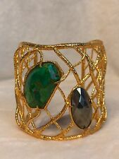 ALEXIS BITTAR Gold Tone Green Turquoise Hematite Stone Cuff Bracelet