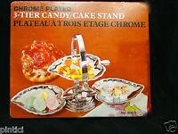 Schale mit 3 Fach Verchromt cake Stand Etagere Metall 27x14 Gebäckschale ANGEBOT