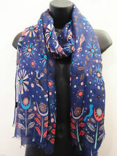 Blue Brazilian forest Leaf bird Print-Scarf New gift Woman Girl Ladys