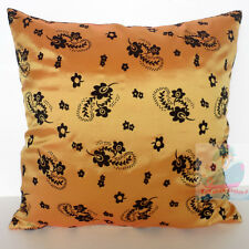 PAIR(2PCS)orange with black blossom Raised Flocked Floral Satin Cushion Cover