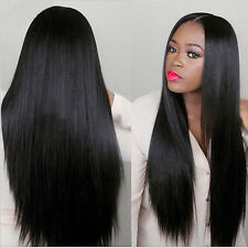 Best 80CM Long Brazilian Straight Natural Wig Hair Full Wigs Women Lady Black