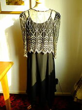 LADIES GINA BACCONI BLACK & GOLD LONG EVENING / MOTHER OF THE BRIDE DRESS 16