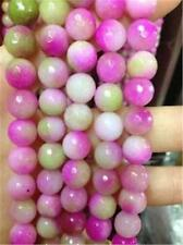 """AA+ Pretty 8mm Faceted Rainbow Color Jade Gemstone Round Loose Beads 15"""""""