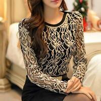 Women Shirt Plus Size Long Sleeve Lace Chiffon Blouse
