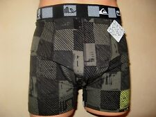 NEW BOYS BLACK CHECKED TRENDY QUIKSILVER FITTED COTTON BOXERS AGE 12-14 26/28
