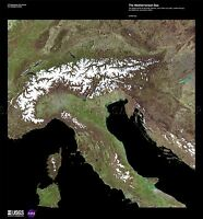 SCIENCE MAP SATELLITE ALPS ITALY MEDITERRANEAN SEA REPLICA POSTER PRINT PAM1494