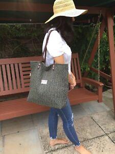 Harris tweed tote, Harris tweed bag, grey bag, grey purse, large tote, wife gift