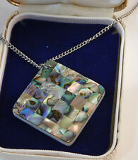"Green Blue Abalone MOP Shell Square Pendant Silver tone 20"" Chain Necklace 2d 97"