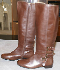 WOMEN'S NINE WEST BROWN LEATHER RIDING BOOTS SIZE 7 1/2 M, NWOB