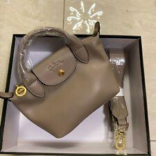Longchamp Le Pliage Cuir Leder Damentasche Schultertasche Handtasche Dunkelgrau